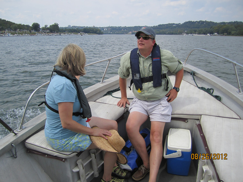 Boating on the Ohio River with Denise, Jeff, & Jake Pieper, Aug. 26, 2012